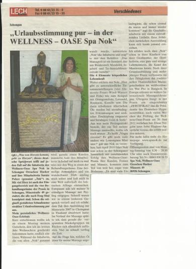 Pressebericht Massage Landsberg, Spa Nok Medien, Zeitungsartikel Massage Schongau