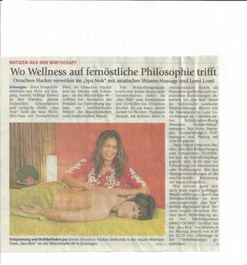 Spa Nok Medien, Pressebericht Massage Landsberg, Zeitungsartikel Massage Schongau